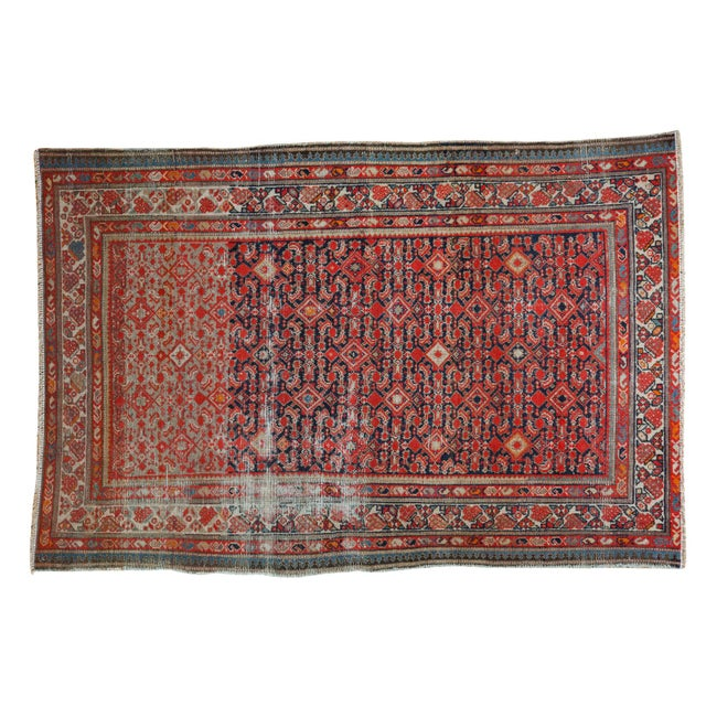 """Distressed Antique Malayer Rug - 4'1"""" X 6' - Image 1 of 8"""