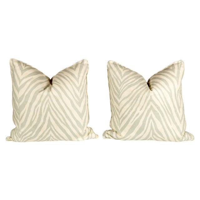 Seafoam Green Linen Zebra Pillows - Pair - Image 1 of 3
