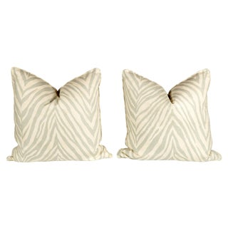 Seafoam Green Linen Zebra Pillows - Pair