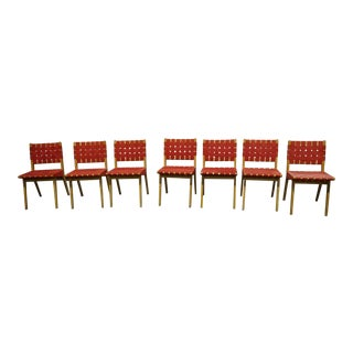 Red Knoll Risom Chairs - Set of 7