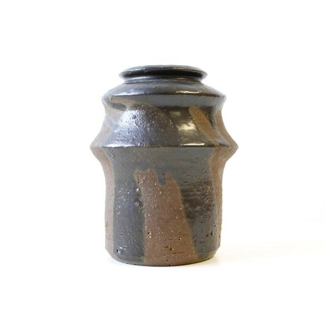 Image of Vintage Brown Black Glaze Studio Pottery Vase