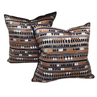 "Pierre Frey ""Empreinte"" Embroidered Pillows - A Pair"