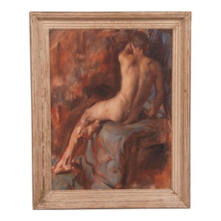 A striking oil on canvas portrait in the Classical style of a male nude seated upon a draped table by Victor Hume Moody from England c.1960.