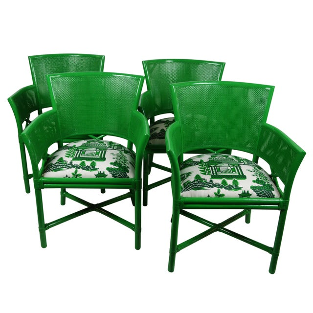 Ficks Reed Green Rattan Armchairs - Set of 4 - Image 1 of 5