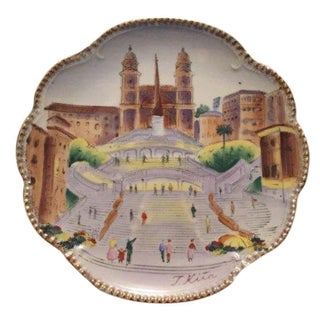 Spanish Stairs Hand-Painted Plate by T. Kita