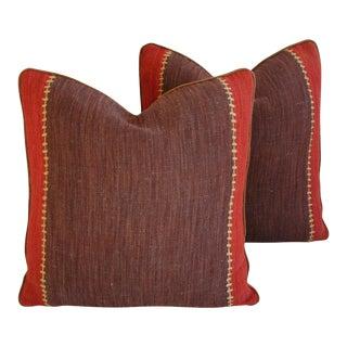 Custom Designer French Manuel Canovas Woven Pillows - Pair