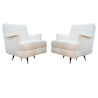 Pair of White Mid-Century Armchairs