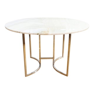 Italian Genuine Carrara Marble Dining Table with Chrome Leg