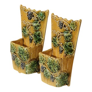 19th Century French Hand-Painted Barbotine Flower Holders with Vines - A Pair
