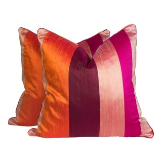 Silk & Velvet Stripe Pillows - A Pair