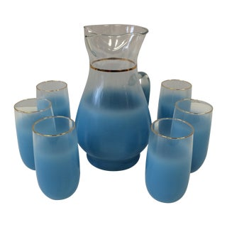 Mid-Century Blue Frosted Pitcher & Six Glasses