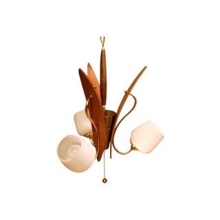 Mid-Century Teak Tulip Pendant Ceiling Light