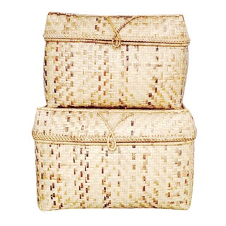 Vintage Woven Bamboo Storage Baskets - Pair