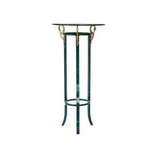 Faux Malachite Metal Stand with Brass Swans