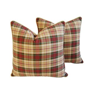 Designer Ralph Lauren Tartan Plaid Pillows - Pair