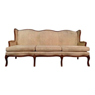 Vintage Walnut Upholstered Wingback Sofa