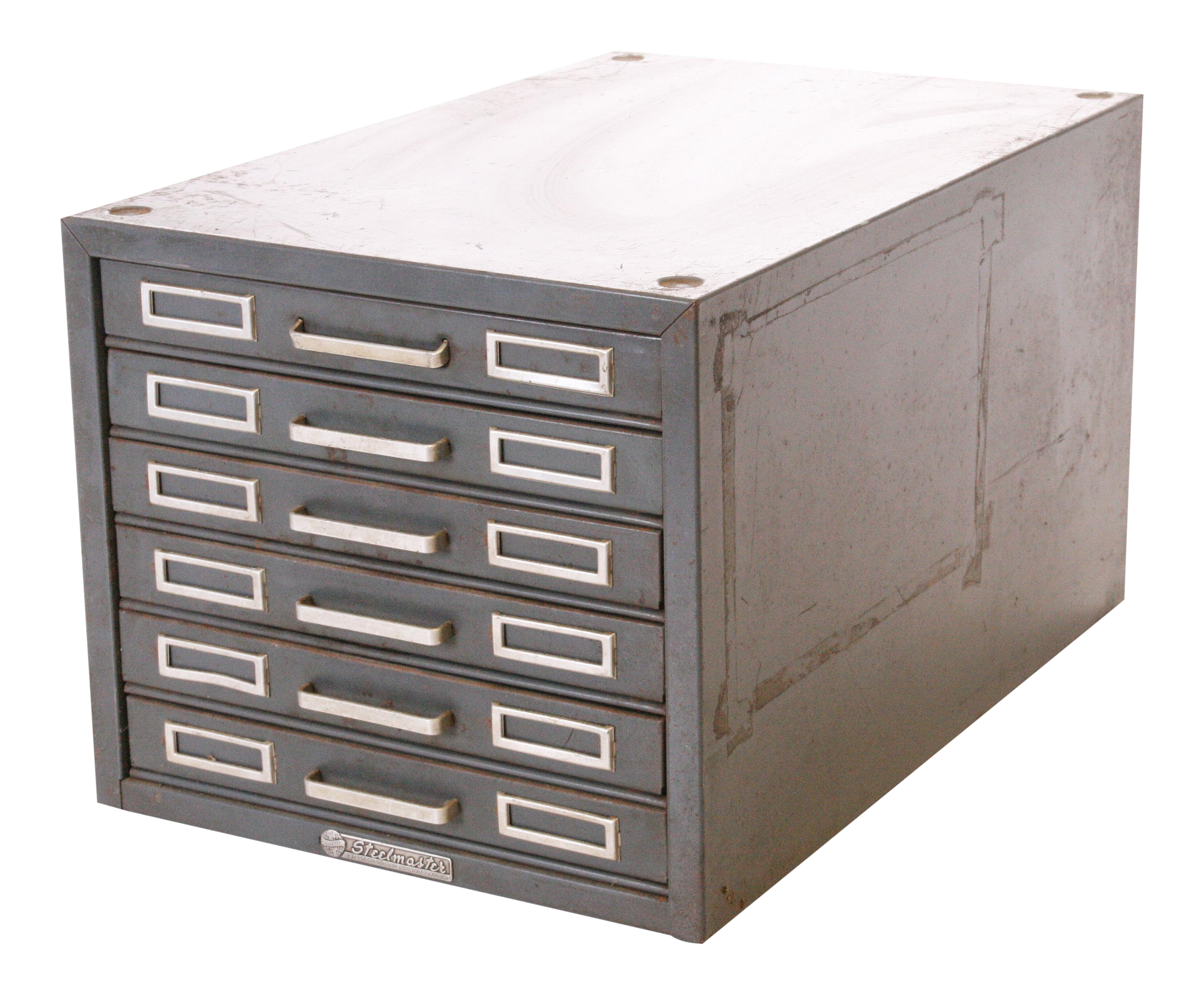 Vintage Industrial Gray 6 Drawer Kardex Style File Cabinet   Image 1 Of 11