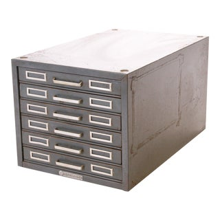 Vintage Industrial Gray 6 Drawer Kardex Style File Cabinet