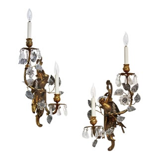 Pair of Maison Baguès Gilt Bronze and Rock Crystal Sconces with Parrots