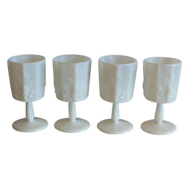 White Opalescent Glass Paneled Grape Goblets - S/4 - Image 2 of 9