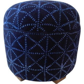 African Indigo Cloth Ottoman