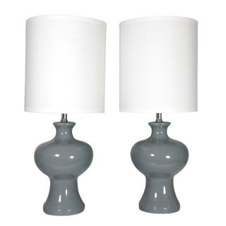 Vintage Grey Table Lamps - A Pair