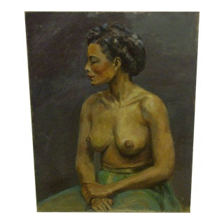 "Original Painting, ""Black Woman - Bare Breasts"""