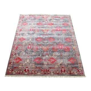 Distressed Rustic Turkish Kilim Patterned Rug - 5' x 8'