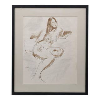 1960 Framed Nude Drawing
