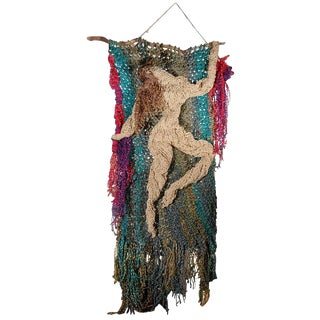 French Mid-Century Knitted Wall Hanging Depicting A Dancing Nude