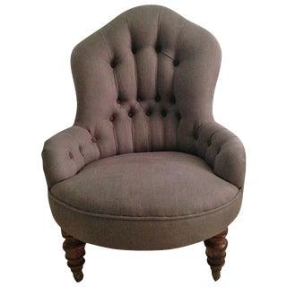 19th Century English Nursing or Fireside Slipper Chair, Belgian Linen