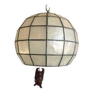 Capiz Globe Pendant w/Buddha