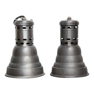 Vintage Industrial Pendant Lamps - A Pair