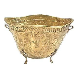 Antique Embossed Brass Cachepot