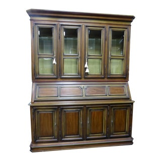 French Drexel China Cabinet Hutch Drop Leaf Desk