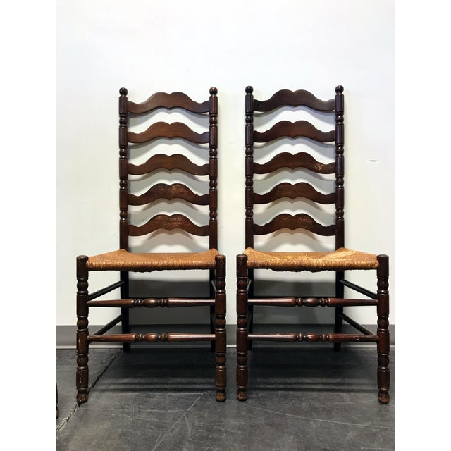 Image of Tell City Vintage Ladder Back Dining Chairs - Set of 4