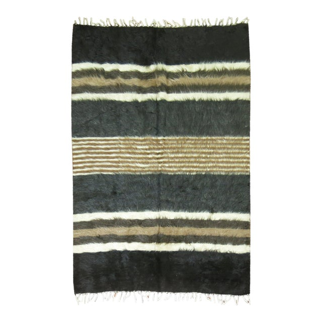 "Vintage Striped Mohair Rug / Throw - 4'4"" x 6' - Image 1 of 6"