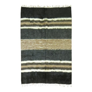"Vintage Striped Mohair Rug / Throw - 4'4"" x 6'"