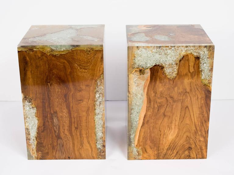 Organic Teak Wood And Cracked Resin Cube Tables   Image 10 Of 10