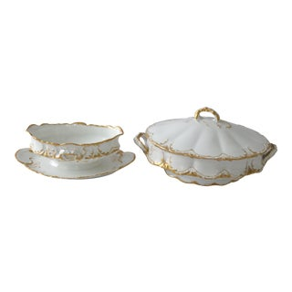 Theo Haviland Limoges Covered Serving & Sauce Bowls - A Pair