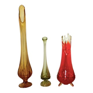 Mid Century Decorative Art Glass Vases - Set of 3