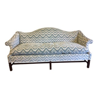 Newly Reupholstered Blue & White Camel Back Sofa