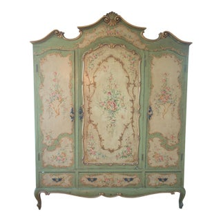 Antique Hand-Painted French Armoire