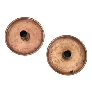 Vintage Rustic Copper Candle Holders - A Pair