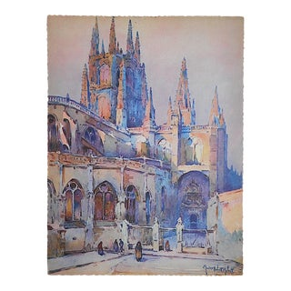 Vintage Lithograph Spanish View, Cathedral on Burgos
