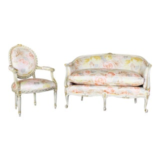 Hollywood Regency Floral Settee and Fauteuil Arm Chair Set - Louis XV Shabby Chic