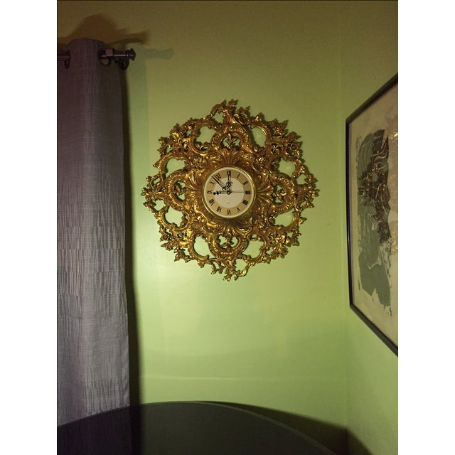 Mid-Century Modern Syroco Gilt Wall Clock - Image 5 of 7
