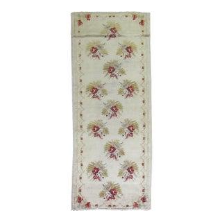 Ivory Turkish Floral Motif Runner - 3'8'' X 8'10''