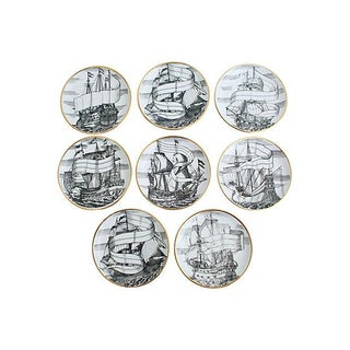 Fornasetti Ship Coasters - Set of 8