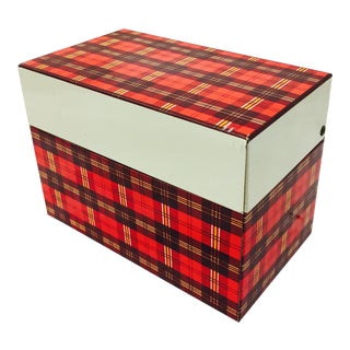 Vintage Mid-Century Red Plaid Box